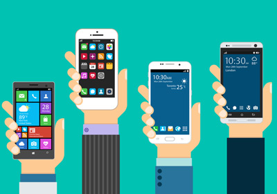 hersteller, illustration von verschiedenen smartphones